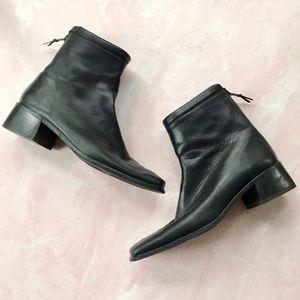 Stuart Weitzman Black Leather Square Toe Booties